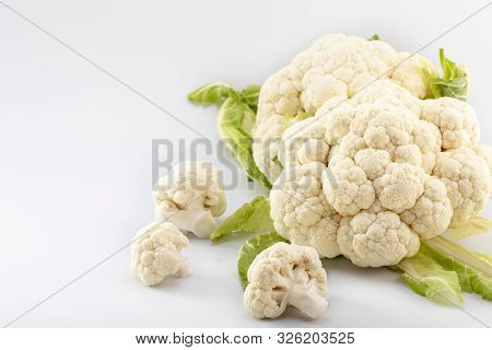 Ripe Fresh Cauliflower, Isolated On White Background. Healthy Eating Concept.