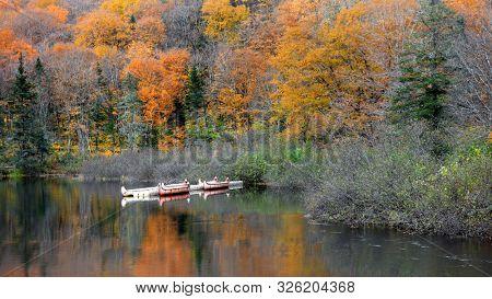 Canoes in Parc de la national Jacques Cartier in Quebec,Canada