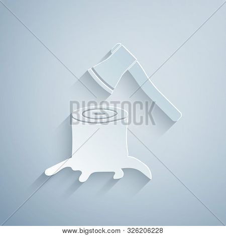 Paper Cut Wooden Axe In Stump Icon Isolated On Grey Background. Lumberjack Axe. Axe Stuck In Wood. P