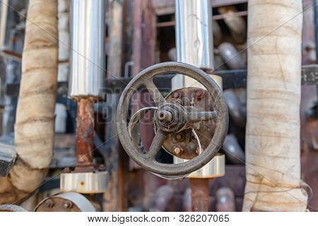 Old Rusty Shutoff Valves Installed On Pipeline Oil Refinery