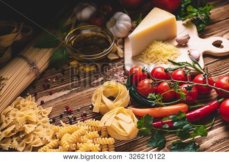 Tasty Appetizing Italian Spaghetti Pasta Ingredients For Kitchen Cuisine With Tomato, Cheese Parmesa