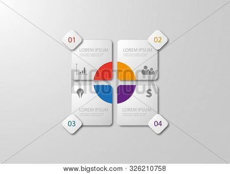 Infographics Template Four Options With Square. Can Be Used For Workflow Layout, Diagram, Number Opt