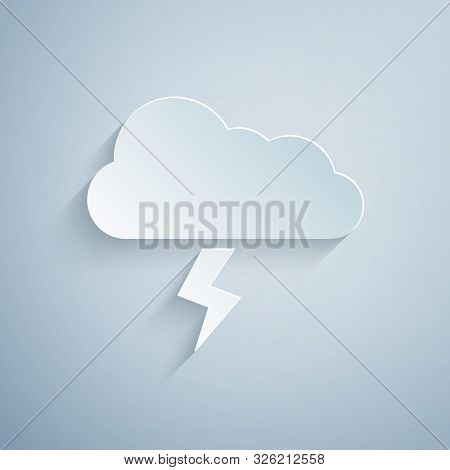 Paper Cut Storm Icon Isolated On Grey Background. Cloud And Lightning Sign. Weather Icon Of Storm. P