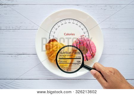 Calories Counting, Food Control And Consumer Nutrition Facts Label Concept. Doughnut And Croissant O