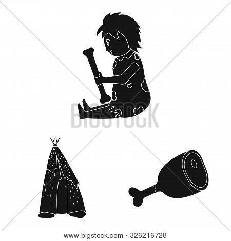 Vector Design Of Survival And Primeval Logo. Collection Of Survival And Stone Stock Vector Illustrat