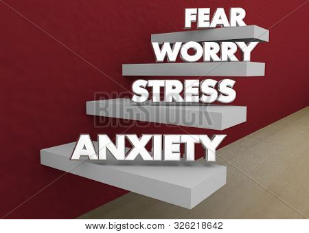 Anxiety Stress Worry Fear Levels Steps Stages 3d Illustration
