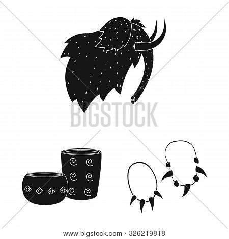 Vector Design Of Survival And Primeval Sign. Set Of Survival And Stone Stock Vector Illustration.