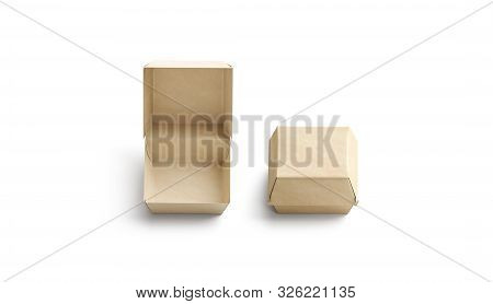 Blank Opened And Closed Craft Burger Box Mockup, Top View, 3d Rendering. Empty Brown Disposable Pac