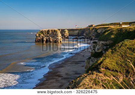Magnesian Limestone Cliffs At Marsden Bay, Located Near South Shields, Consisting Of A Sandy Beach E