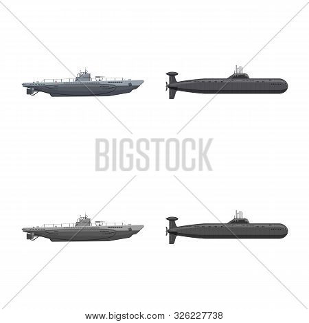 Vector Design Of War And Ship Sign. Collection Of War And Fleet Stock Symbol For Web.