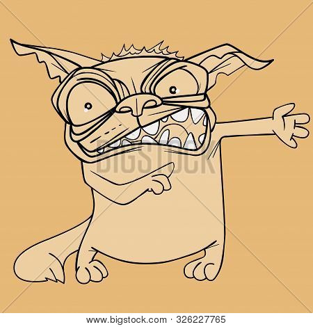 Sketch Funny Cartoon Toothy Angry Tabby Cat Paws Sideways