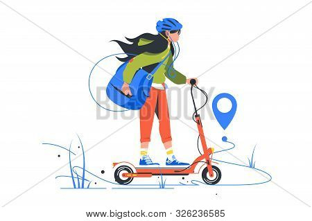 Ny Delivery Of Young Girl On Kick Scooter Using Bag. Isolated Concept Urban Woman Postman Using Mode