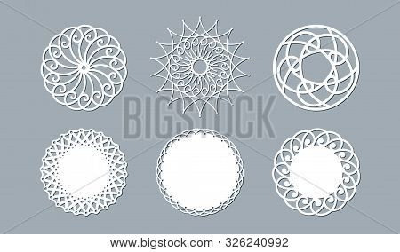 Lace Doily Lasercut Paper Round Pattern Ornament Template Mockup Of A Round White Lace Doily Napkin