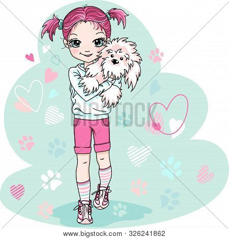 Vector Cute Beautiful Brown-haired Girl With White Little Shaggy Puppy