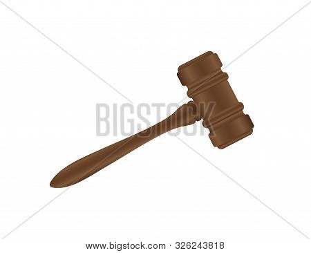 Wooden Judge Gavel And Soundboard Isolated. Vector Stock Illustration.