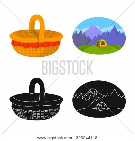 Isolated Object Of Cookout And Wildlife Icon. Set Of Cookout And Rest Stock Symbol For Web.