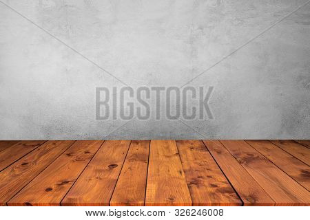 Empty Wooden Desk Table Top On Wood With Cement Wall Background,used For Display Or Montage Your Pro