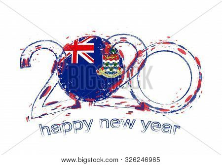 Happy New 2020 Year With Flag Of Cayman Islands. Holiday Grunge Vector Illustration.