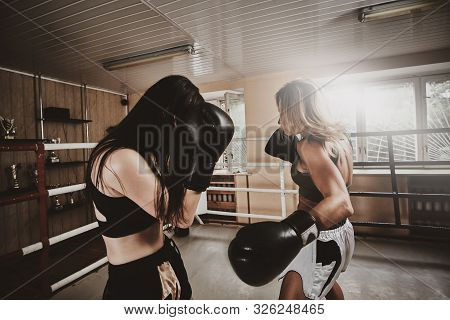 Two Strong Boxer Females Has A Sparring On The Ring Wearing Boxing Gloves.