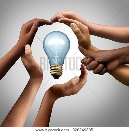 poster of Inspire people thinking together as a diverse group coming together joining hands to collaborate into the shape of an inspirational light bulb as a community support metaphor with 3D elements.