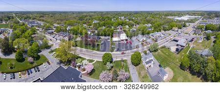 Aerial View Panorama Of Millis Historic Town Center And Main Street In Spring, Millis, Boston Metro