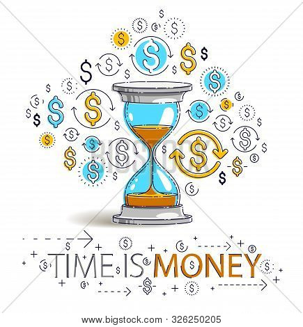 Time Is Money Concept, Hourglass And Dollar Icons Set, Sand Watch Timer Deadline Allegory, Vector De