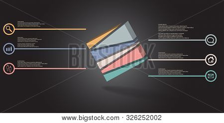 3D Illustration Infographic Template With Embossed Cube Randomly Divided To Six Parts Askew Arranged