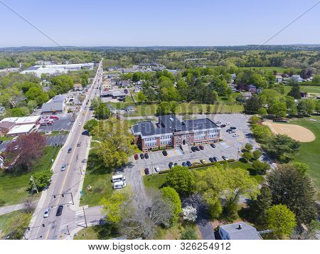 Aerial View Of Millis Town Hall On Main Street At The Town Center Of Millis In Boston Metro West Are