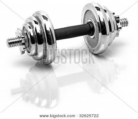 silver fitness weights with reflection