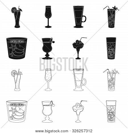 Vector Design Of Liquor And Restaurant Logo. Collection Of Liquor And Ingredient Stock Symbol For We