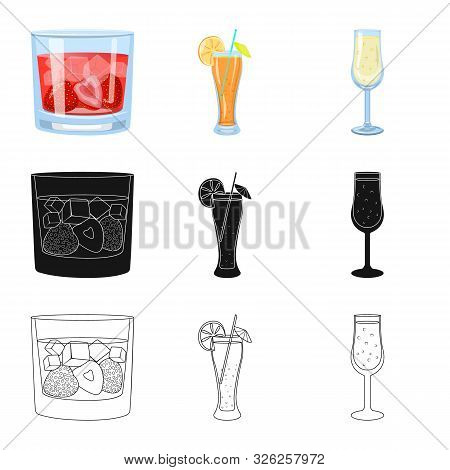 Vector Illustration Of Liquor And Restaurant Icon. Set Of Liquor And Ingredient Stock Vector Illustr