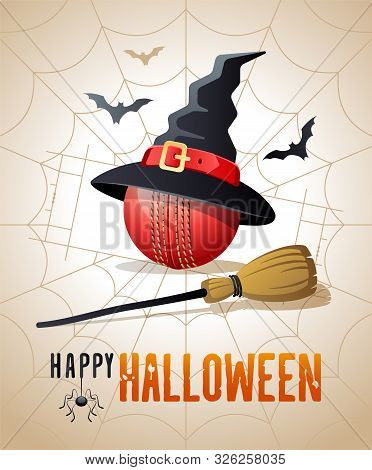 Happy Halloween. Sports Greeting Card. Cricket Ball With Witches Hat And Broom On The Background Of