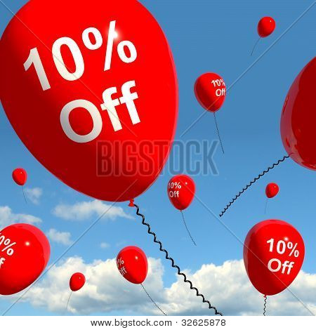 Balloon With 10% Off Showing Sale Discount Of Ten Percent