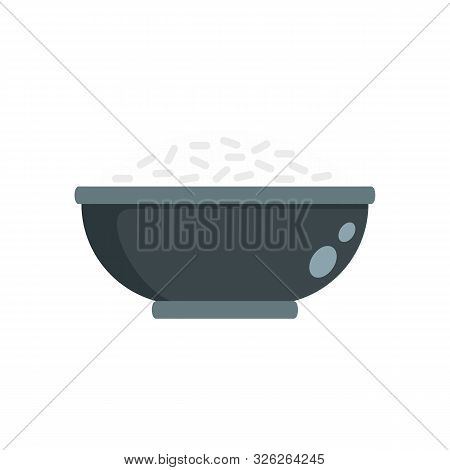 Cooked Rice Bowl Icon. Flat Illustration Of Cooked Rice Bowl Vector Icon For Web Design