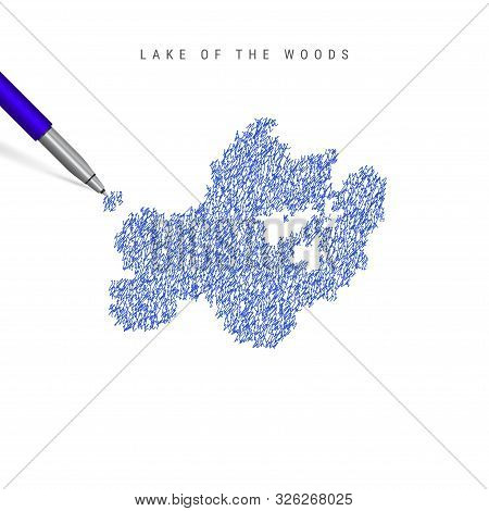 Lake Of The Woods Sketch Scribble Map Isolated On White Background. Hand Drawn Vector Map Of Lake Of