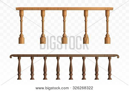 Wooden Balustrade, Balcony Railing Or Handrails Set. Banister Or Fencing Sections With Decorative Pi