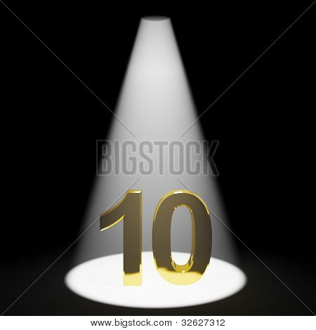 Gold 10th Or 10 3d Number Representing Anniversary Or Birthday