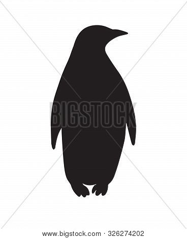 Vector Flat Black Emperor Penguin Silhouette Isolated On White