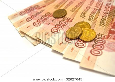 10 Rubles Coins And 5000 Banknotes