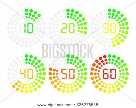 Countdown Timer Display With Flat Circle. Stopwatch Vector Icon, Digital Timer.
