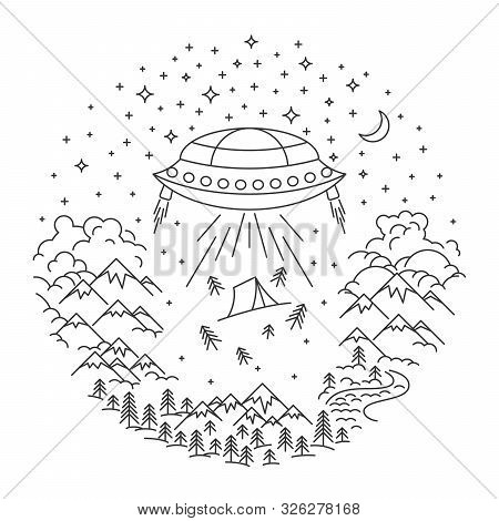 Ufo Stealing Tent And Pine. Mountain And Hils, River And Forest Landscape On White Background. Hight