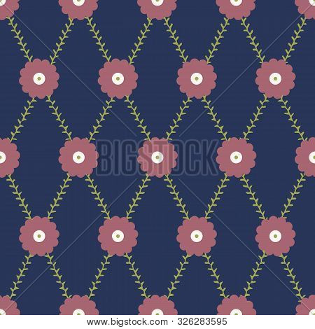 Pink Circle Flower With Green Trellis Stem Seamless Pattern With Navy Background