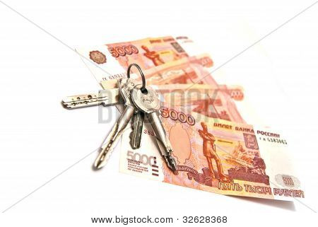 Russian Rubles Banknotes And Keys