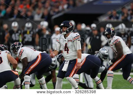 LONDON, ENGLAND - OCTOBER 06 2019: Quarterback Chase Daniel of The Chicago Bears during the NFL game between Chicago Bears and Oakland Raiders at Tottenham Stadium in London, United Kingdom.