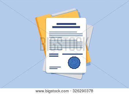Contract Or Document Signing Icon. Document, Folder With Stamp And Text. Contract Conditions, Resear