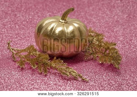 Gold Decorative Pumpkin And Pine Branch On Pink Background