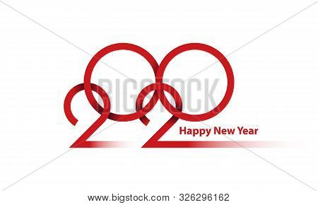 New Year 2020 Thin Line Design Background. 2020 Weaving Line Lettering. Happy New Year Illustration