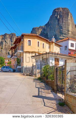 Street in Kastraki village at the foot of Meteora rocks, Kalambaka, Greece