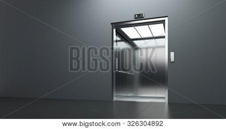 Passenger elevator with open doors, at empty business center interior. 3D render