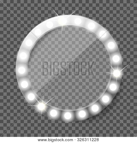 Round Makeup Vanity Mirror With Light Bulbs.